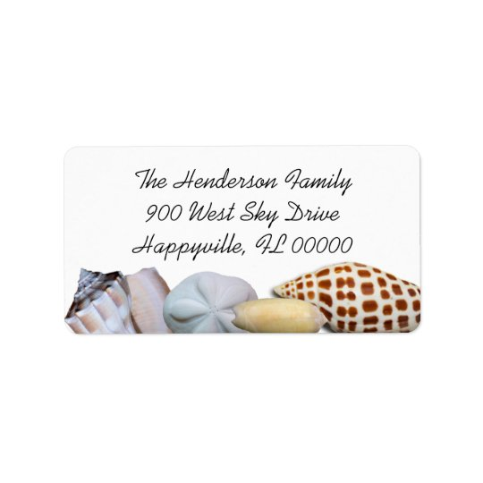 Junonia Seashell Border Wide Return Address Labels