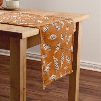 Junonia Seashells Pattern Orange Tropical Table Short Table Runner