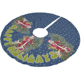 Jupe d'arbre de Noël du père noël Jupon De Sapin En Polyester Brossé