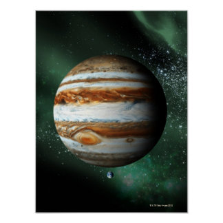Jupiter and Earth Comparison Poster