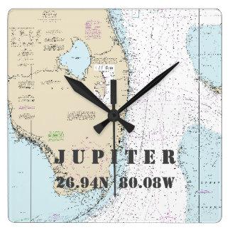Jupiter FL Latitude Longitude Nautical Chart Square Wall Clock