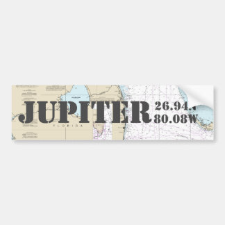Jupiter FL Latitude Longitude Navigation Chart Bumper Sticker