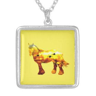 Jupiter horse silver plated necklace