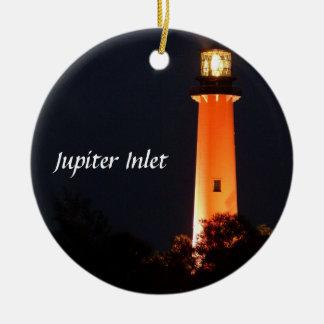 Jupiter Inlet Lighthouse Round Ceramic Ornament