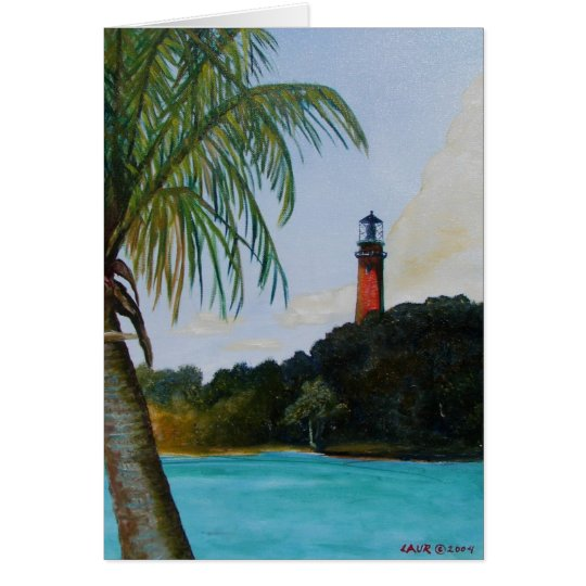 Jupiter Lighthouse with Palm Card
