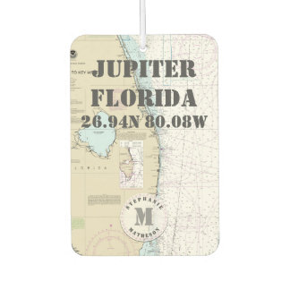 Jupiter Palm Beach Florida Nautical Chart Monogram Car Air Freshener