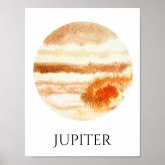 Jupiter Planet Watercolor Poster