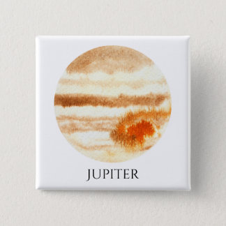 Jupiter Planet Watercolor Square Button