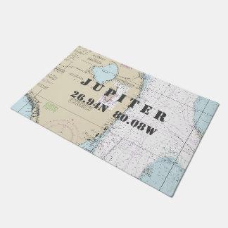 JupiterFlorida Latitude Longitude Nautical Boating Doormat