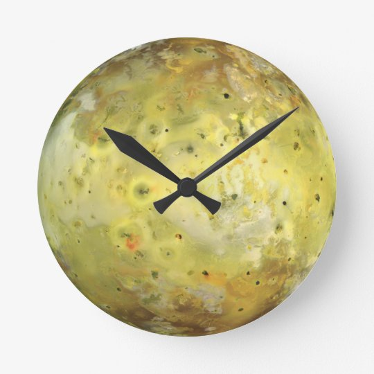 Jupiter's Moon Io Round Clock