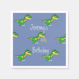 Jurassic Dinosaurs Cute Boys  Blue Birthday Disposable Napkin