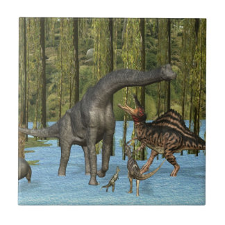 Jurassic Dinosaurs in a Mossy Swamp. Tile