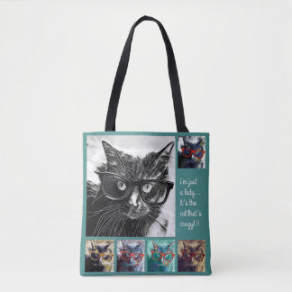 Just a lady, it's the cat that's crazy! teal tote bag