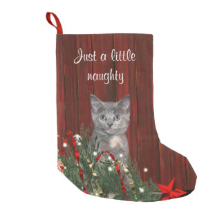 Just a little bit naughty kitty cat small christmas stocking
