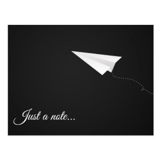 Just A Note Paper Airplane Postcard