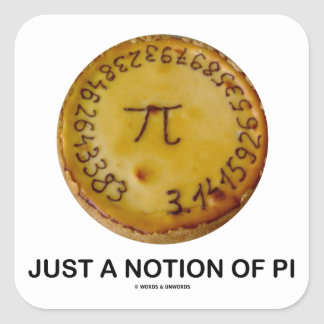 Just A Notion Of Pi (Pi On A Pie) Square Stickers