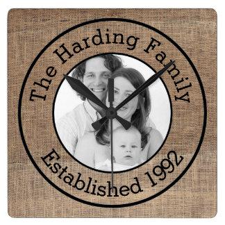 Just Add Photo and Custom Text Burlap Family Pic Wallclock