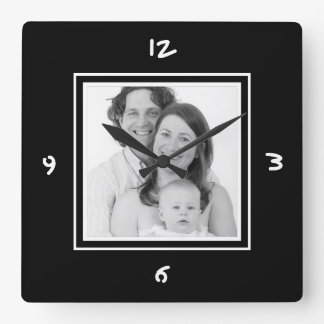 Just Add Photo Custom Mod BW Picture Square Wall Clock