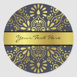 Just Add Your Name   Faux Gold Foil Mandala Classic Round Sticker
