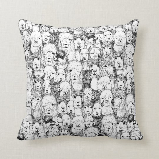 just alpacas black white throw pillow