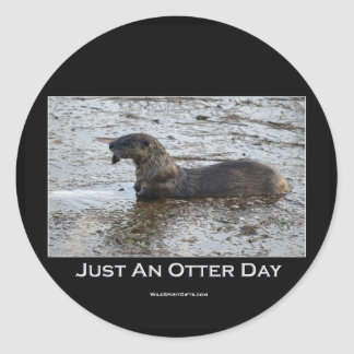 Just an Otter Day Gifts Classic Round Sticker
