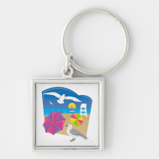 Just Beachy Silver-Colored Square Keychain
