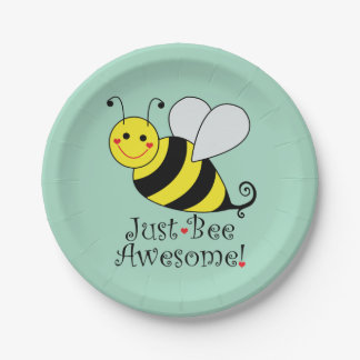 Just Bee Awesome Bumble Bee Paper Plate