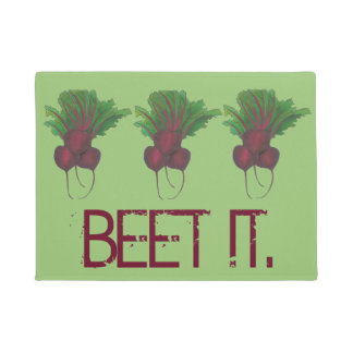 Just Beet (Beat) It Funny Red Beets Garden Veggie Doormat
