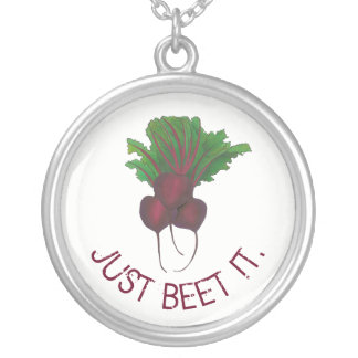 Just Beet It Red Beets Veggie Bunch Gardener Vegan Silver Plated Necklace