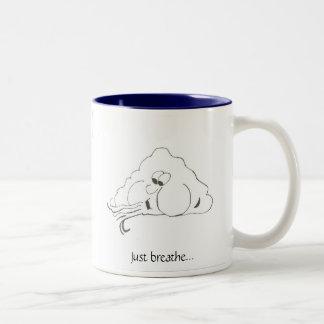 """Just breathe"" blowing wind mug"