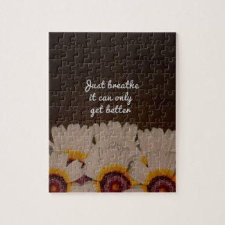 Just Breathe Flower Design Jigsaw Puzzle