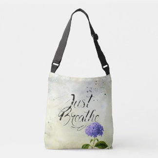 Just Breathe - Flowers Blue Crossbody Bag