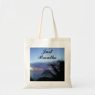 Just Breathe Ocean Sunrise Palm Tree Tote Bag
