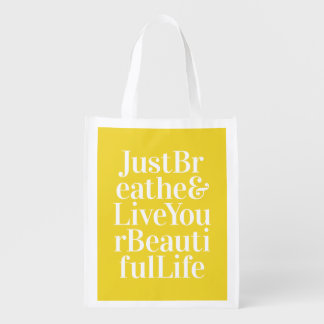 Just Breathe Positivity Inspiring Quote Yellow Reusable Grocery Bag