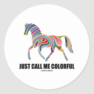 Just Call Me Colorful (Color Swirl Horse) Classic Round Sticker