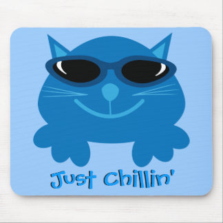 Just Chillin' Blue Cat With Sunglasses Mouse Pad