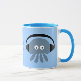 Just Chillin' Blue Jellyfish With Headphones Mug