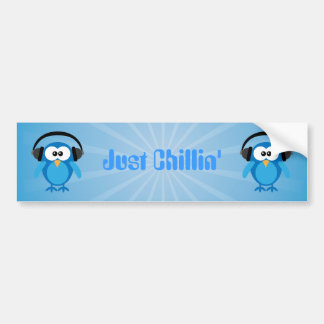 Just Chillin' Blue Retro Owls With Headphones Bumper Sticker