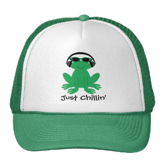 Just Chillin' Frog With Headphones & Shades Trucker Hat