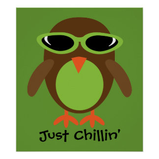 Just Chillin' Owl With Sunglasses Print