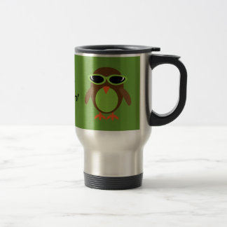 Just Chillin' Owls With Sunglasses 15 Oz Stainless Steel Travel Mug