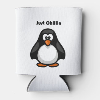 Just Chillin Penguin Hanging Out Cartoon Can Cooler