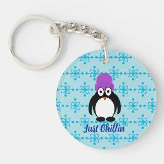 Just Chillin' Penguin In Purple Hat Keychain