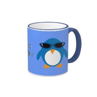 Just Chillin' Penguins With Sunglasses Ringer Mug