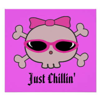 Just Chillin' Pink Cartoon Skull With Sunglasses Posters
