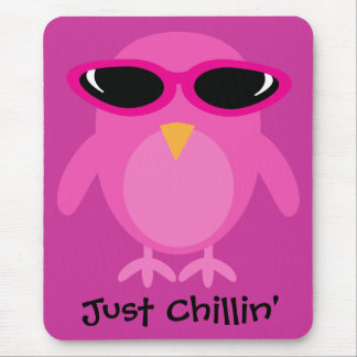 Just Chillin' Pink Owl With Sunglasses Mouse Pad