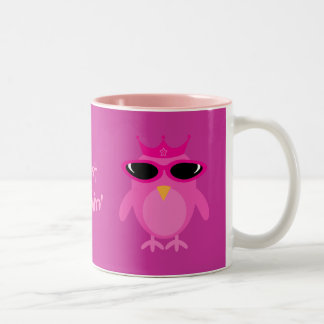 Just Chillin' Pink Princess Owls With Sunglasses Two-Tone Coffee Mug