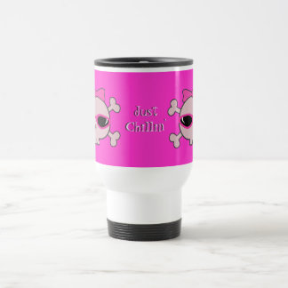 Just Chillin' Pink Skulls With Sunglasses 15 Oz Stainless Steel Travel Mug
