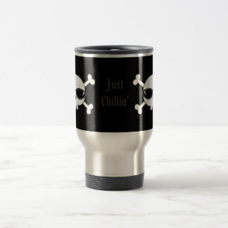 Just Chillin' Skulls With Sunglasses Stainless Steel Travel Mug