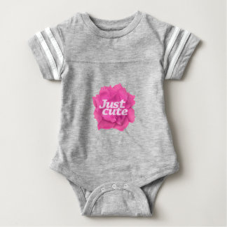 Just Cute Text over Pink Rose Baby Bodysuit